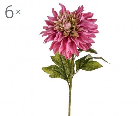 Sada 6 umělých květin Dahlia Single Pink