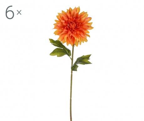Sada 6 umělých květin Dahlia Single Orange