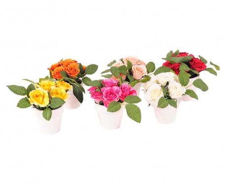Sada 6 umělých květin v květináči Roses Pot