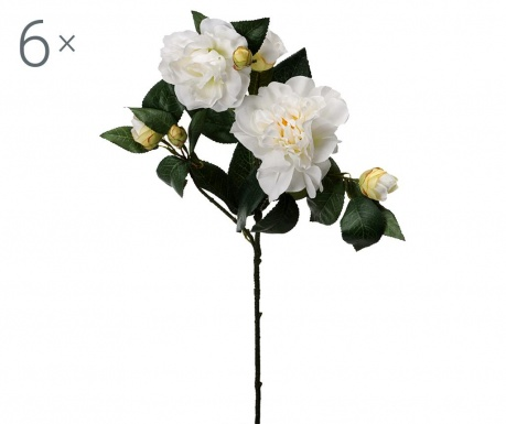 Sada 6 umělých květin Camellia Cream