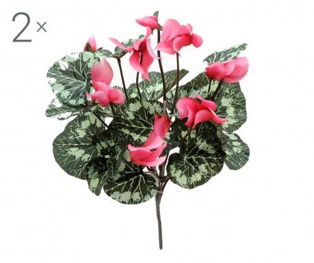 Sada 2 kytic umělých květin Cyclamen Pink