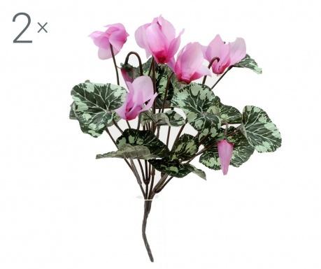Sada 2 kytic umělých květin Cyclamen Lilac