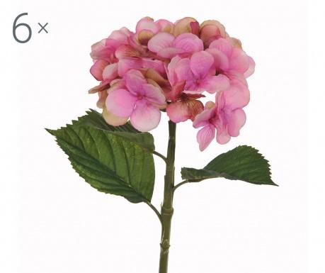 Sada 6 umělých květin Hydrangea Single