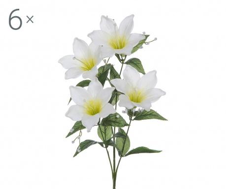 Sada 6 umělých květin Easter Lily Cream