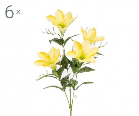 Sada 6 umělých květin Easter Lily Yellow