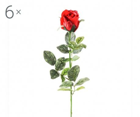 Sada 6 umělých květin Rosa Boccio