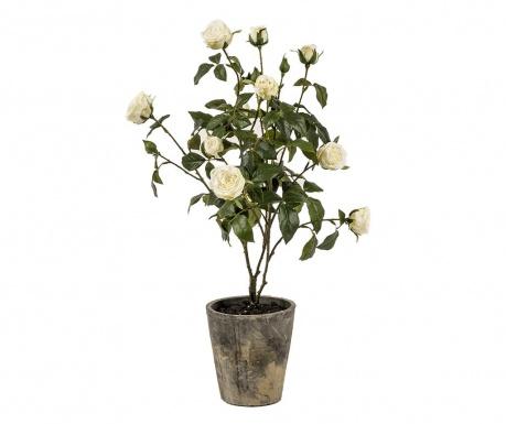 Umělá květina v květináči Mini Roses in a Pot Cream