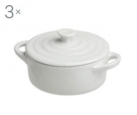 Zestaw 3 naczyń do pieczenia z pokrywką Ramekin Round White 90 ml