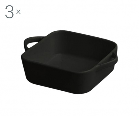 Sada 3 pekáče Ramekin Square Black 430 ml