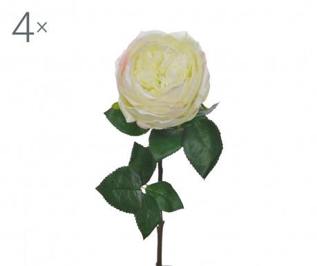 Zestaw 4 kwiatów sztucznych Rosa Cabbage Green