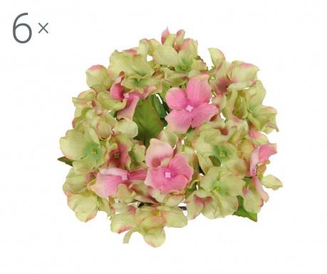Set 6 umetnih cvetlic Candela Ortensia Green and Pink