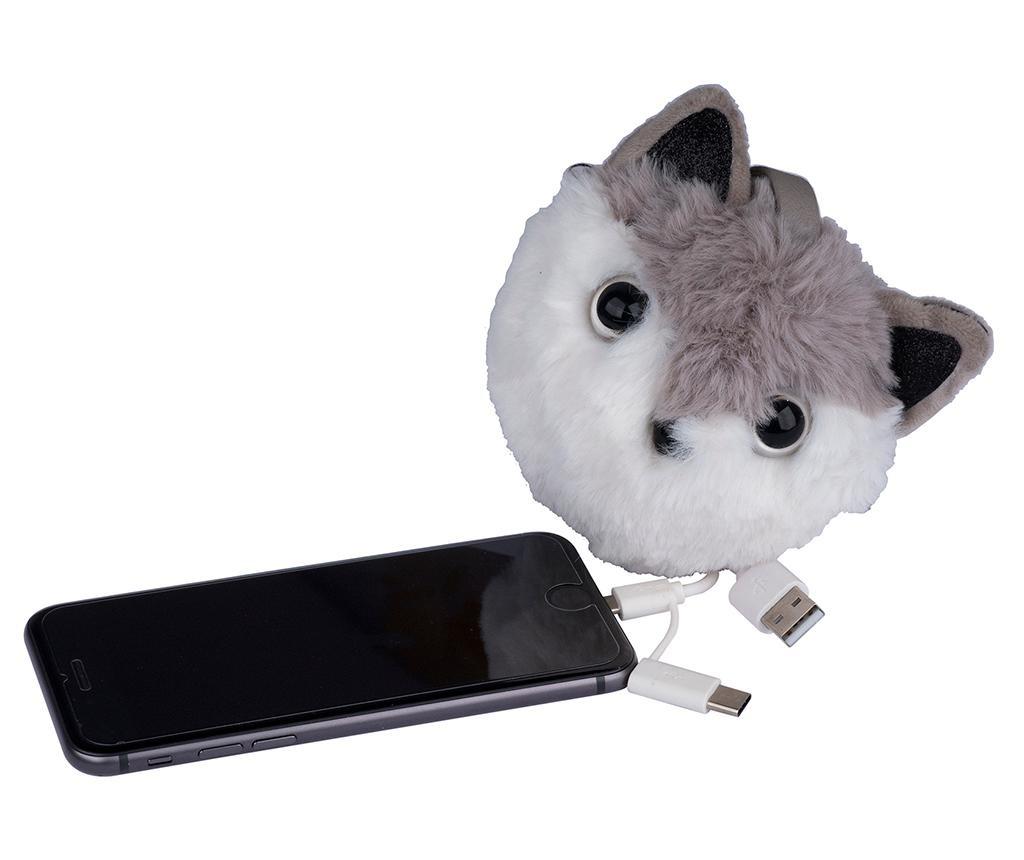 Obesek za ključe s prenosnim polnilcem Charm Cat Grey