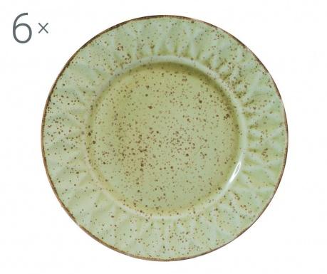 Zestaw 6 talerzy płaskich Dalia Green