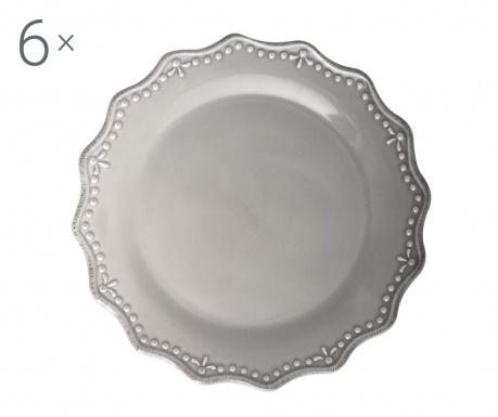 Sada 6 plytkých tanierov Crown Grey