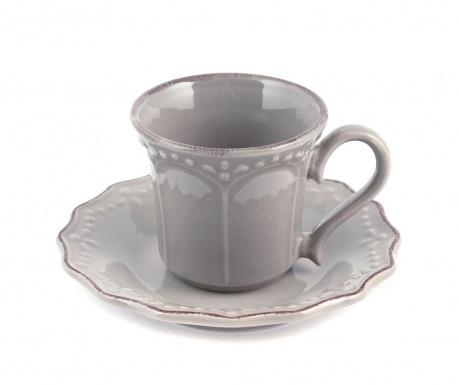Sada 6 šálok a 6 tanierikov Crown Grey Coffee