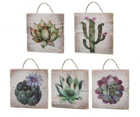 Set 5 decoratiuni de perete Desert Flowers