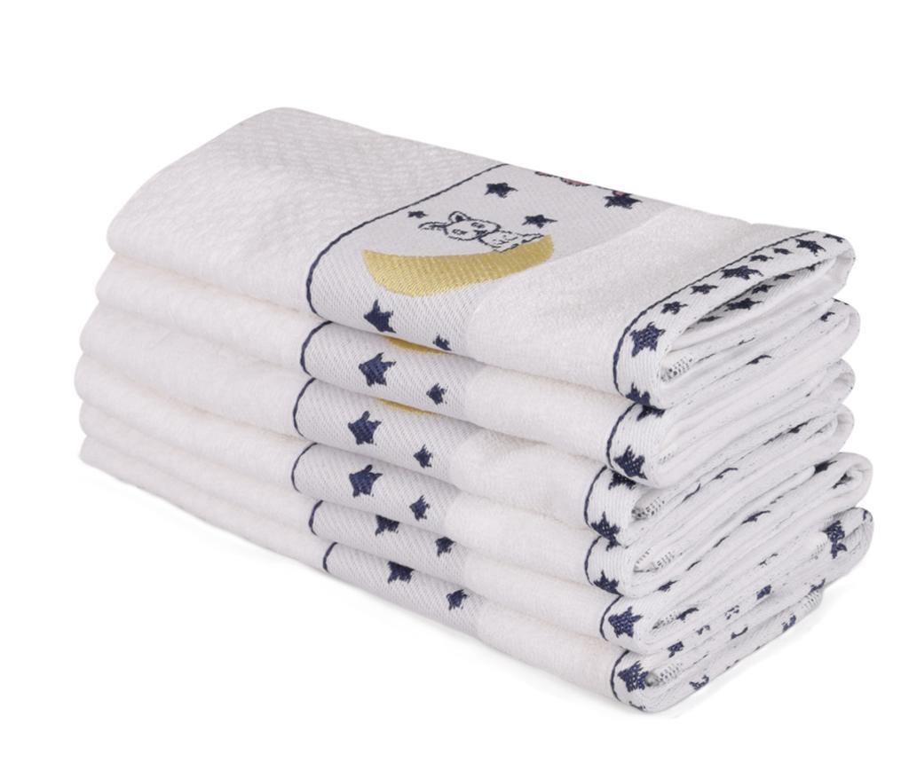 Set 6 dječjih kupaonskih ručnika Bordurlu Beyaz Ay Ve Tavsan 30x50 cm