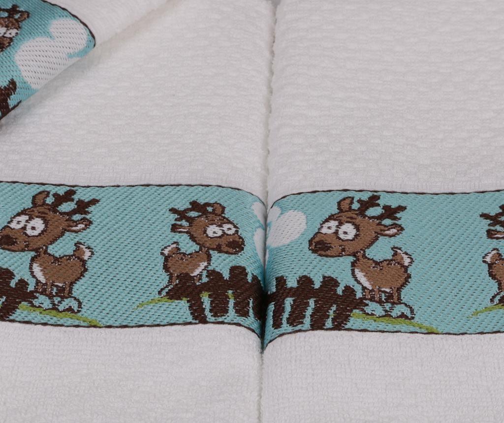 Set 6 otroških kopalniških brisač Bordurlu Beyaz Geyikli Ciftlik 30x50 cm