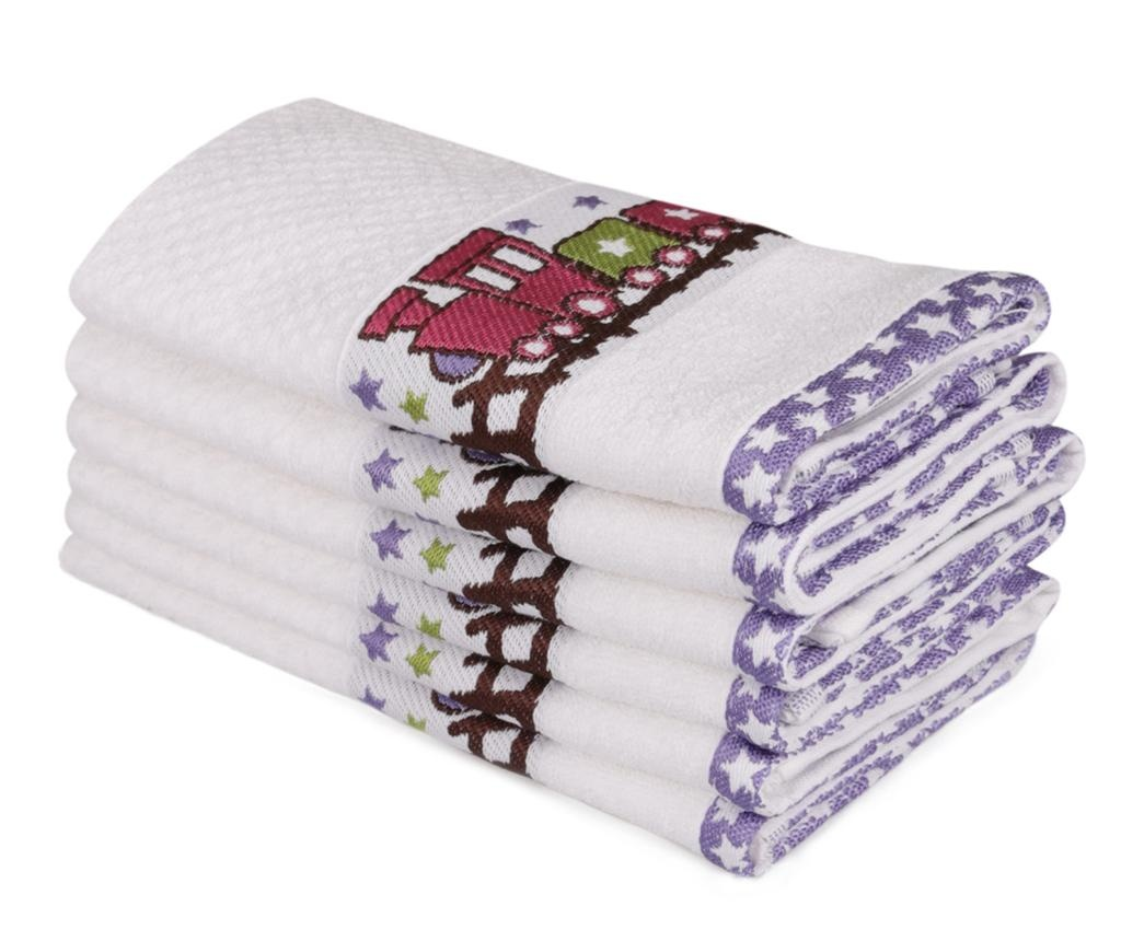 Set 6 dječjih kupaonskih ručnika Bordurlu Beyaz Renkli Tren 30x50 cm