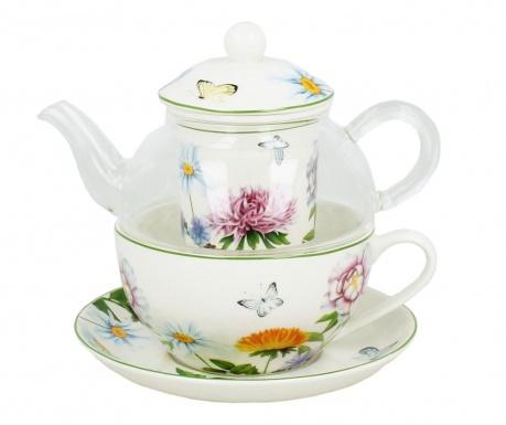 Linda Teáskanna szűrővel, csésze és kistányér