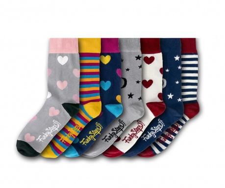 Set 7 parov ženskih nogavic Hearts Mix 35-39