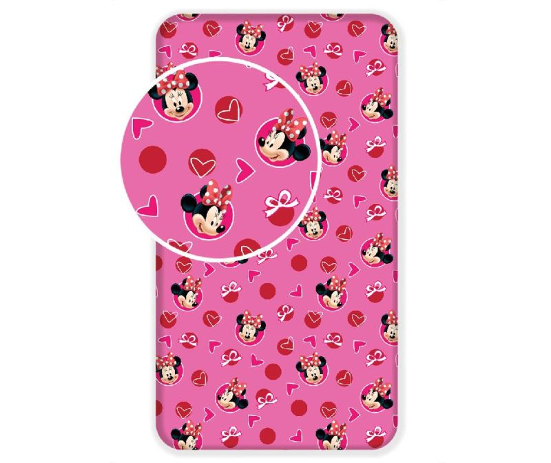Minnie Moouse Hearts Ranforce gumis lepedő 90x200 cm