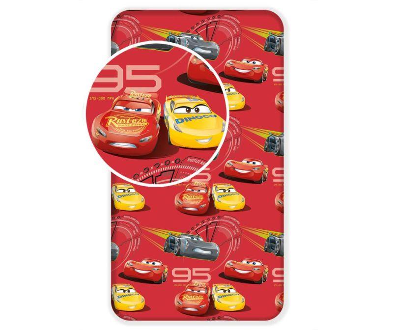 Prostěradlo s gumičkou Ranforce Cars Red 90x200 cm
