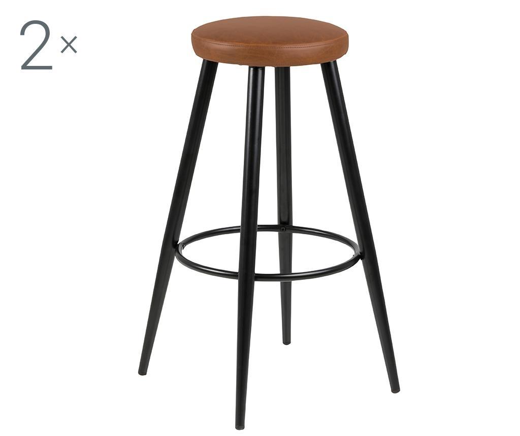 Set 2 scaune de bar Hector Vintage Brandy
