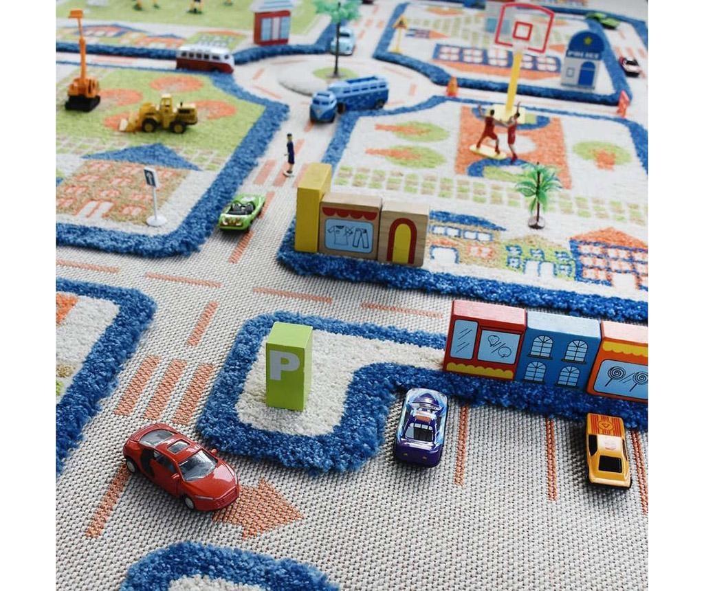 Koberec na hraní Traffic Middle 3D Blue 100x150 cm