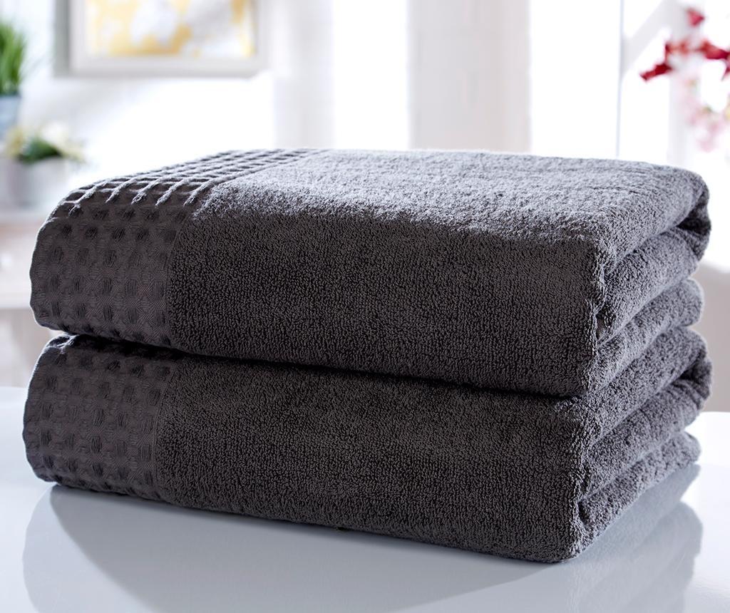 Set 2 kupaonska ručnika Retreat Charcoal 90x140 cm