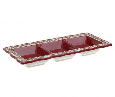 Servirni krožnik za prigrizke Merry Xmas Red