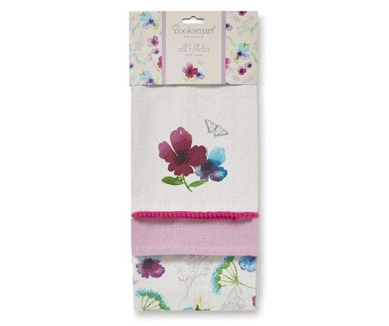 Set 3 kuhinjska ručnika Chatsworth Floral 45x65 cm