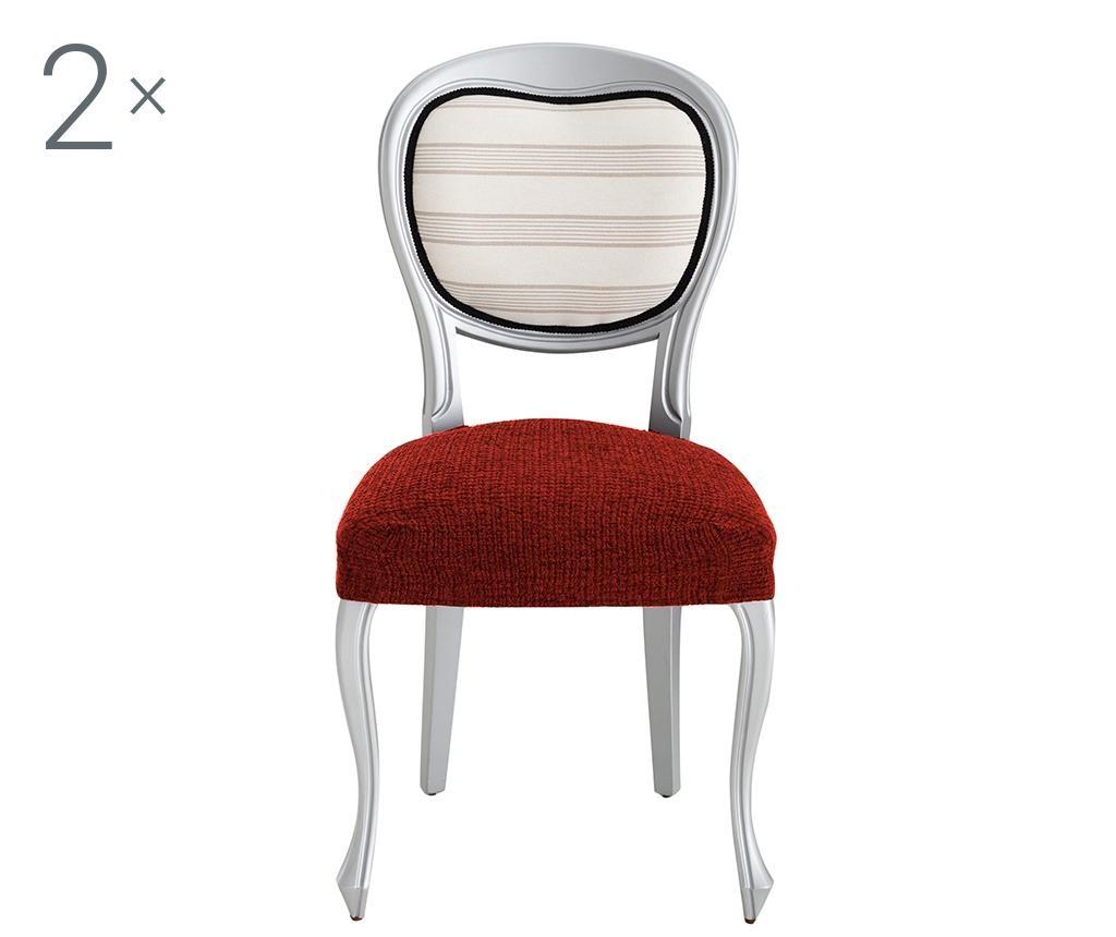 Комплект 2 еластични калъфа за стол Dorian Dark Orange Backless