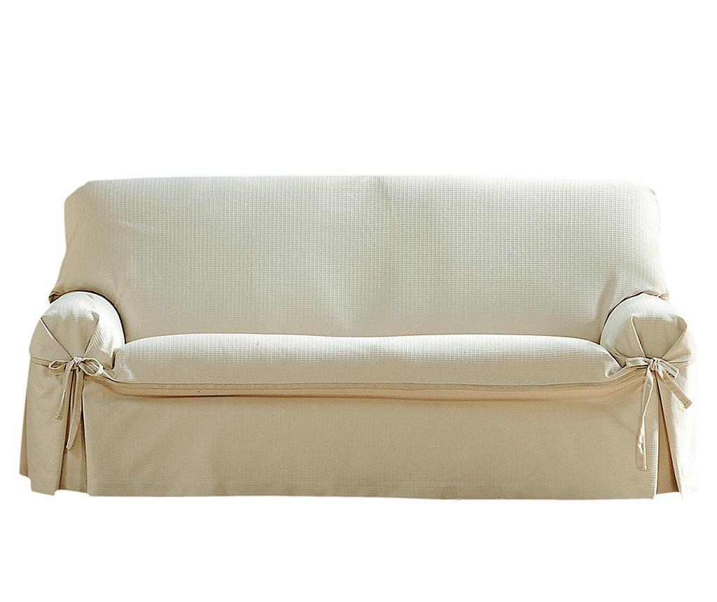 Husa ajustabila pentru canapea Paola Ecru Bows 180-220 cm
