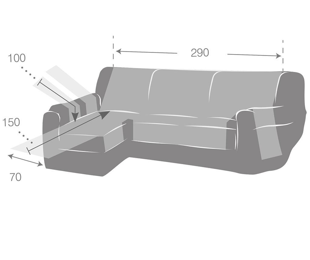 Navlaka za lijevu kutnu garnituru Zoco Grey 290 cm