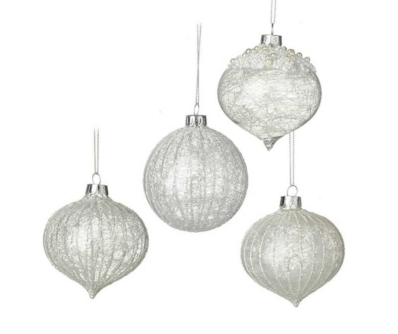Set 4 globuri decorative Silver Winter