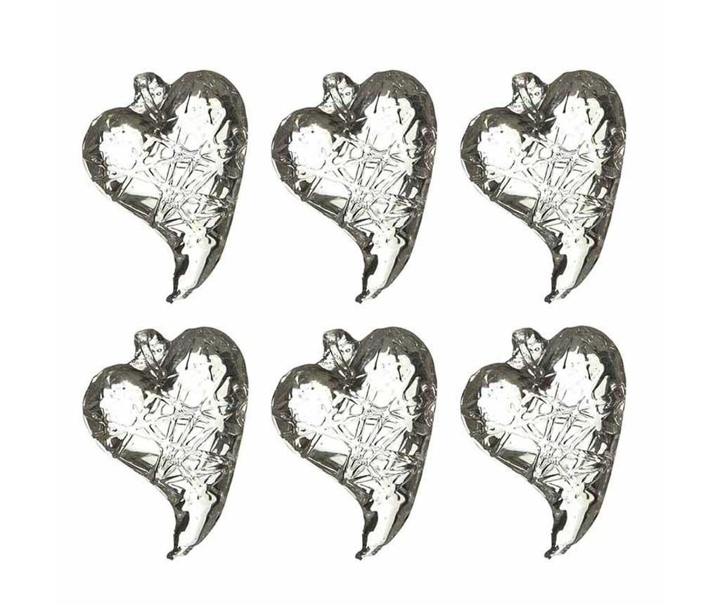 Set 6 decoratiuni suspendabile Glass Hearts