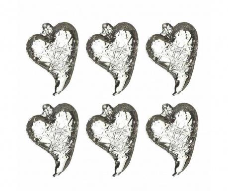Set 6 visečih dekoracij Glass Hearts