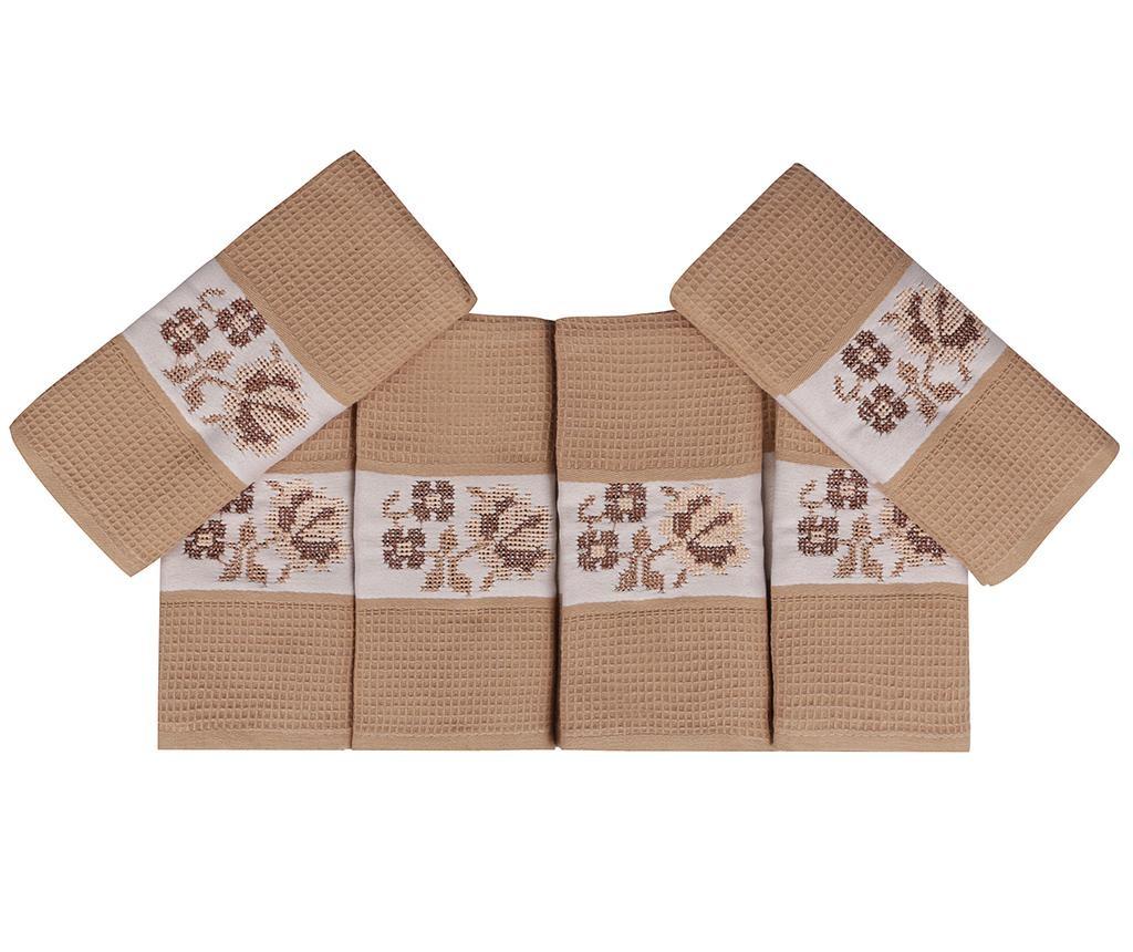 Set 6 kupaonskih ručnika Pecetelik  Beige 45x70 cm