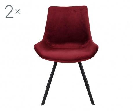 Zestaw 2 krzeseł Drammen Velvet Red