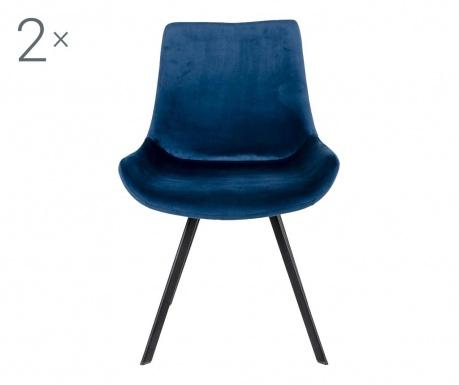 Zestaw 2 krzeseł Drammen Velvet Dark Blue