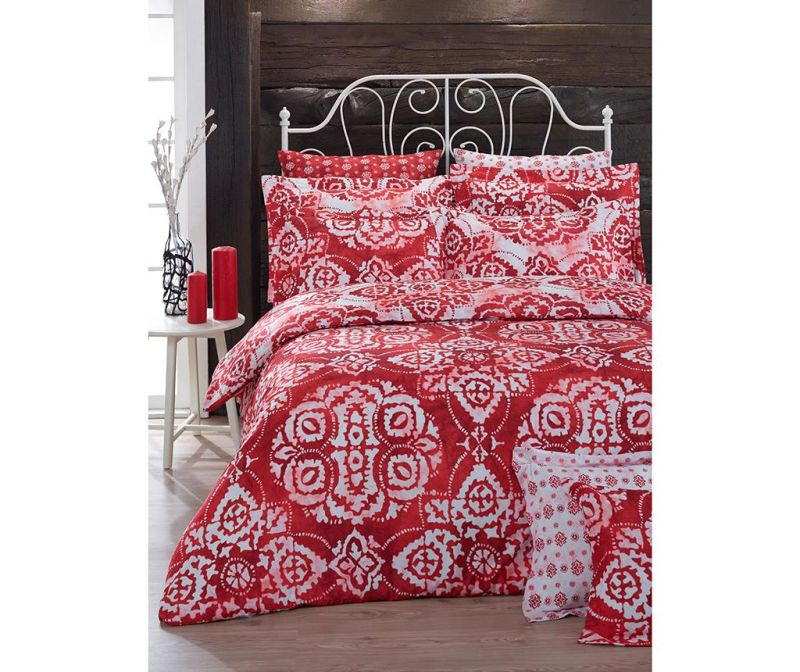 Posteljnina King Ranforce Batik Red 200x220