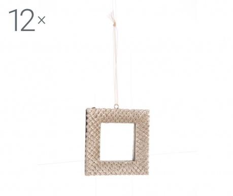 Set 12 decoratiuni suspendabile Champagne Square