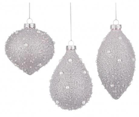 Sada 6 dekoračných gúľ Silver Stones