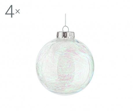 Sada 4 dekoračných gúľ White Christmas