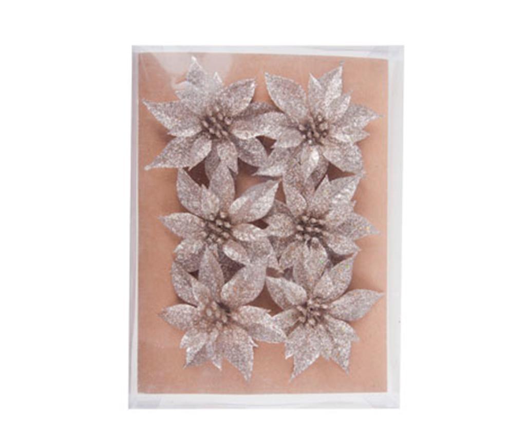 Set 6 ukrasa Poinsettia Silver Mini