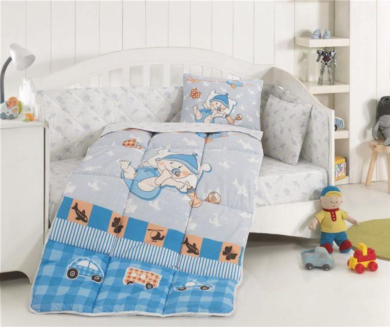 Otroška posteljnina in prešita odeja Ranforce Hug Me Blue