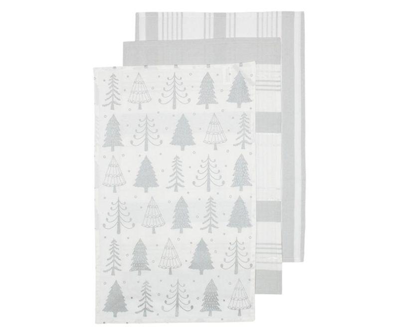 Set 3 kuhinjskih brisač Sparkle Tree Silver 45x70 cm