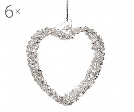 Set 6 decoratiuni suspendabile Heart