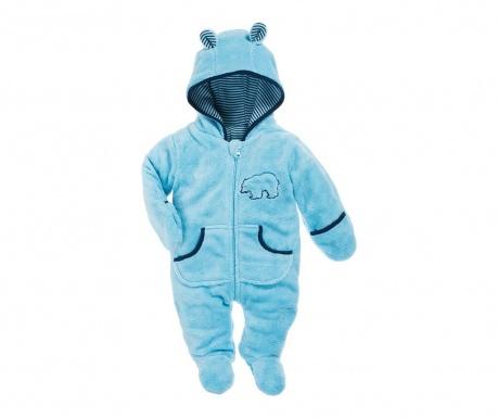 Dětský overal s rukavicemi a krytými chodidly Teddy Blue 8 měs.